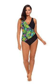 b61ac37caf454 Plus Size One Piece Swimsuit with Jungle Print wrap-around look.