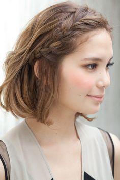 Short hair with braid.