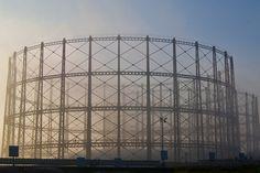 gasometers in the fog Glasgow, UK
