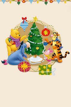 Pooh, Eyore, Piglet, & Tigger decorating the tree