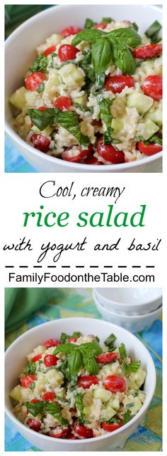 Cool rice salad with a creamy yogurt dressing - a perfect summer side! | Family Food on the Table