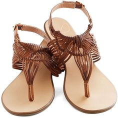 Prairie Grass Sandal in Brown ($25) ❤ liked on Polyvore featuring shoes, sandals, flats, sapatos, ankle strap flats, wedge sandals, ankle strap sandals, flats sandals and wedge heel sandals