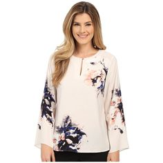 Vince Camuto Bell Sleeve Duet Floral Keyhole Blouse Women's Blouse ($99) ❤ liked on Polyvore featuring tops, blouses, keyhole top, vince camuto, vince camuto tops, keyhole blouse and floral print top
