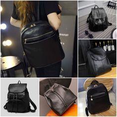 £2.6 GBP - Fashion Leather School Bag Travel Backpack Satchel Women  Shoulder Rucksack Black  ebay  Fashion dcf6062107