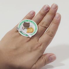 Kawaii Miniature Food RIngs Chocolate Cake by fingerfooddelight, $10.00