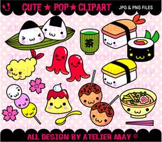 Some cute kawaii Japanese sushi and food illustrations here!  :) Digital Clipart-Instant Download by ateliermay on Etsy https://www.etsy.com/listing/159710392/some-cute-kawaii-japanese-sushi-and-food