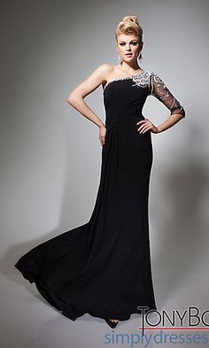 Long Black One Sleeve Jersey Gown at SimplyDresses.com