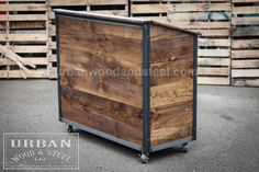 Like all our products, this sturdy unit can handle any task. Perfect as a server station, host stand, buffet, or POS counter, it has plenty of work and storage space. Made from distressed pine and a fully welded steel frame, it comes equipped with 4 locking steel drawers and 1 door.