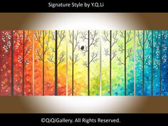 Painting 60 original Large Abstract Landscape by QiQiGallery