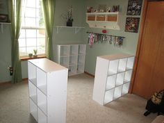 Start your ikea DIY craft table project by placing the cubicles wherever you want to be. Make sure you are placing them while keeping size of the desk in mind. Diy Crafts Desk, Craft Room Desk, Craft Room Tables, Craft Room Storage, Storage Spaces, Storage Ideas, Cheap Storage, Craft Rooms, Extra Storage