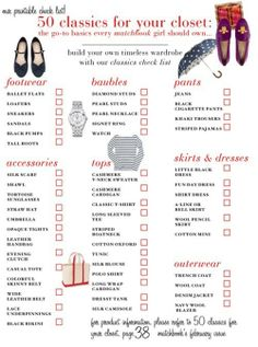 Wardrobe Essentials Checklist - good list would remove some items and add some.