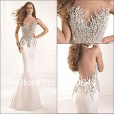 2014 Tarik Ediz Dress Most Radiant Mermaid Crystal Beaded Sheer Neckline Open Back White Prom Party Dresses Long Evening Gown