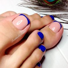 62 Ideas french pedicure designs toes blue for 2019 Pedicure Colors, Pedicure Designs, Pedicure Nail Art, Toe Nail Designs, Toe Nail Art, Nail Colors, Pedicure Ideas, Blue Pedicure, Pretty Toe Nails