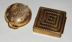 Pair of Vintage Compacts: 1) Round (1.5 Inch) Solid Perfume Compact, Chantilly by Houbigant 2) Square (1.5 Inch) Rouge Compact by Elizabeth Arden.