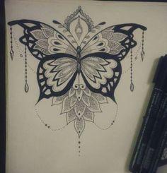 Butterfly Mandala Tattoo, Mandala Arm Tattoo, Butterfly Tattoo Cover Up, Butterfly Tattoo Designs, Sternum Tattoo, Lace Tattoo, Mehndi Tattoo, Butterfly Wings, Rose Tattoos