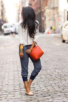 Women's Beige Chiffon Dress Shirt, Navy Sweatpants, Beige Leather Loafers…