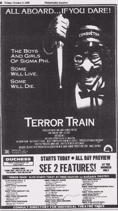 Terror Train (1980) Horror movie newspaper movie ad stars Jamie Lee Curtis