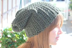 Crochet Ribbed Slouchy Hat Free Pattern : Sunny Stitching