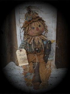 Olde Thyme Country Primitives – The World Primitive Scarecrows, Fall Scarecrows, Primitive Fall, Primitive Crafts, Country Primitive, Scarecrow Doll, Halloween Doll, Fall Halloween, Halloween Crafts