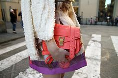 Love the bright bag accessory. Refined Style