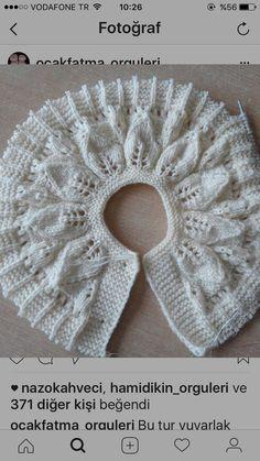 "diy_crafts- Yakadan örnek Tric ""Discover thousands of images about Yakadan örnek"", ""Baby dress with a wonderful collar pattern"", ""A Shawl Patterns, Baby Knitting Patterns, Baby Patterns, Vintage Knitting, Lace Knitting, Diy Crafts Dress, Crochet Baby, Knit Crochet, Knitting Tutorials"