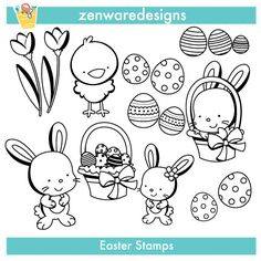 Easter Bunny and Eggs Digital Stamps - Digital Stamps - Mygrafico.com