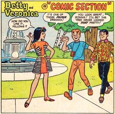 """That paper dress craze? Of course the Archie gang had to be part of it. """"Comic section"""" in Archie's Girls Betty and Veronica November written by Dick Malmgren, art by Dan DeCarlo (pencils)."""