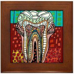 Arte Dental Enmarcado Ceramic Tile Heather Galler impresión de Pintura - Dentista Dientes Odontología Médico listo para colgar, Firmado