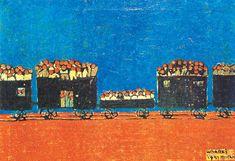 (Korea) Train evacuation during Korean War 1951 by Whanki Kim 1913-1974. Oil on canvas. 김환기 피난열차