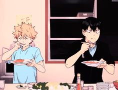 Haikyuu!! ~~ Chowing down like hungry crows! :: Hinata and Kageyama