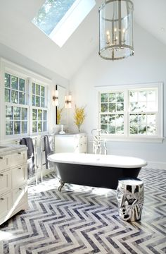 chevron tile floor!