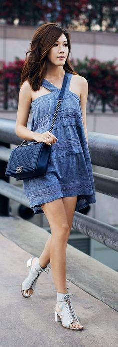 Tiered Chambray Dress Streetstyle by Tsangtastic