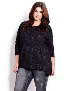 This urban sweatshirt is edgy and trendy! Features long sleeves, wide crew neckline, functional zipper closure at front and high-low hemline. 29 inch length at front, 31 inch length at back.