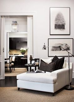 Black, white, and brown living room vignette.