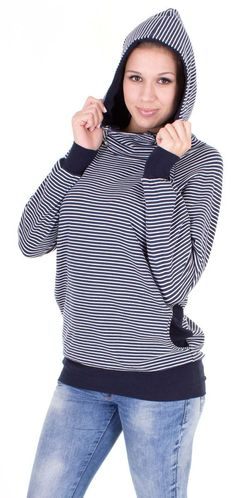 Viva la Mama   The 3-in-1, cozy, navy/white striped long-sleeved nursing & maternity hoodie BALTIC has a comfortable and long cut but is stylish and casual as well. BALTIC makes discreet breastfeeding everywhere possible. With its maritime style It is a cutel piece in your maternity wardrobe.