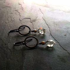 Black Hoop Double Terminated Quartz Gold Earrings, Herkimer Diamond, Oxidized Silver Jewelry
