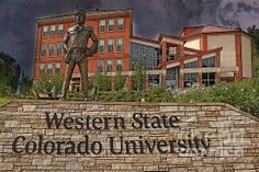 A Front view of Western State Colorado University in Gunnison, Colorado.  This shot has been textured for effect with a Kristen Singer Texture.