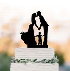 Family Wedding Cake topper with boy wedding cake by TopperDesigner
