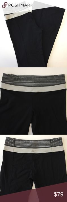 """Lululemon Reversible Groove Pant Black & Gray 6 Lululemon 'In the Groove' Pant. Size 6. Retail: $108. Reversible. Subtle flare silhouette. One side is all-black with striped gray waistband & reflective logo on leg. Other side has color-block waistband featuring gray stripes above a light gray color, with reflective logo on back waistband. Inseam: 31"""". Four way stretch Luon fabric. Super soft handfeel! Hidden pocket in waistband. Size dot verified. Excellent pre-loved condition with minor…"""