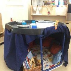 Reading area under literacy tuff spot. Tuff Spot, Eyfs Activities, Nursery Activities, Space Activities, Eyfs Classroom, Outdoor Classroom, Reception Classroom Ideas, Classroom Displays, Communication Friendly Spaces
