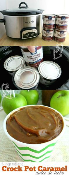 1-Ingredient Crock Pot Caramel Recipe -Make milky caramel (dulce de leche) at home in your crock pot or slow cooker! Use this caramel in recipes, as a topping or a dip— perfect for fall or holiday treats!