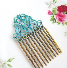 Turquoise Wedding Hair Comb Aqua Bridesmaid Gift Blue Bridal Head Piece Pin Victorian Quaint Edwardian Shabby Chic Vintage Style