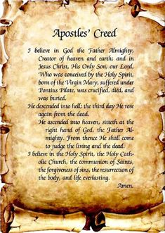 """""""The Apostle's Creed I believe in God the Father Almighty Creator of heaven and earth and in Jesus Christ, His only Son. Catholic does not refer to the Roman Catholic Church only, but to the Universal Church, compose of all Christians. Prayer Verses, Faith Prayer, Faith In God, Prayer Quotes, Lord's Prayer, Rosary Prayer, Holy Rosary, Prayer Board, Nicene Creed"""
