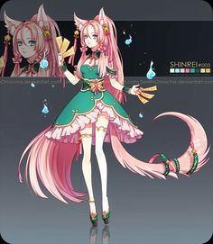 Adopt: Sanzaru by ZenithOmocha on DeviantArt Anime Girl Dress, Anime Girl Neko, Anime Fantasy, Fantasy Art, Character Concept, Character Design, Beautiful Sketches, Anime Animals, You Draw