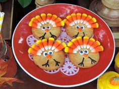 Candy corn turkey cookies at a Thanksgiving party!  See more party planning ideas at CatchMyParty.com!