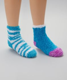 Take a look at this Blue Zebra Fuzzy Socks Set by Crazy Sox on #zulily today!