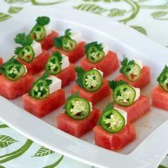 watermelon jalapeno salad - sweet watermelon, feta, cilantro and chiles. So good!