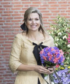 Queen Maxima of The Netherlands leaves the home for the elderly De Bolder after attending a jubilee concert celebrating 15 years Stichting Muziek in Huis (music for the elderly)