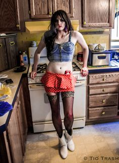 Trailer Park Glam! www.TioTrash.com Forever 21, denim crop top, polka dot skirt, white fringe boots, trailer trash, marlboro reds, trailer park chick