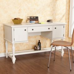 @Overstock - This Barrington off-white writing office desk features two cabinets and a drawer, as well a shelf along the bottom, for a completely organized experience. This lovely writing desk is the perfect addition to any home office or bedroom.http://www.overstock.com/Home-Garden/Barrington-Off-White-Writing-Office-Desk/7500089/product.html?CID=214117 $353.99